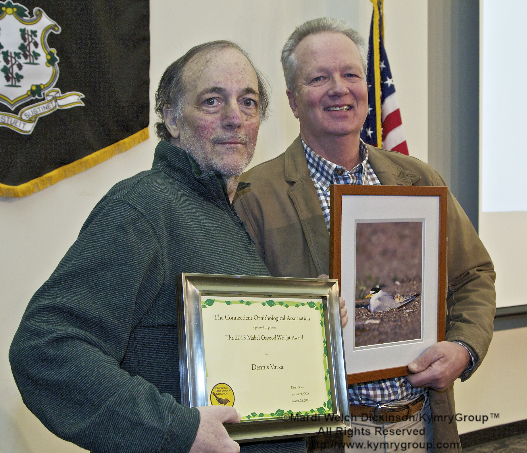 l. to r. Dennis Varza, 2013 Recipient, Mabel Osgood Wright Award; Milan Bull, Senior Director of Science and Conservation for CT Audubon Society; COA 29th Annual Meeting 2013, Middlesex Community College, Middletown, CT. March 23, 2013. ©Mardi Welch Dickinson /KymryGroup. All Rights Reserved.